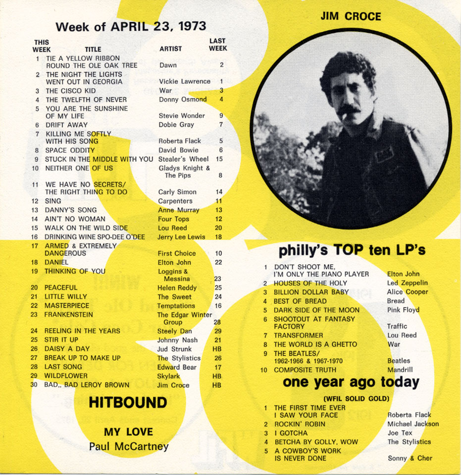 WFIL presents your Top 30 Handbill reverse side