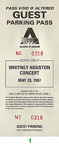 Whitney Houston Backstage Pass