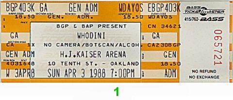 Whodini Vintage Ticket