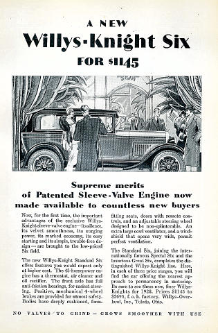 Willys-Knight: Standard Six Vintage Ad