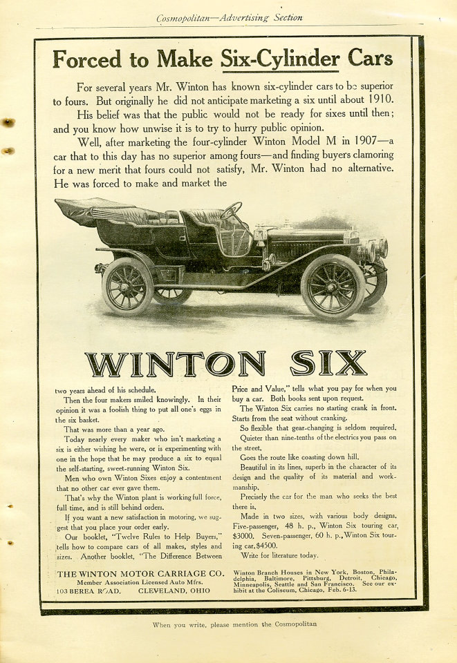 Winton Six Vintage Ad