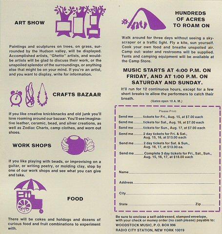 Woodstock Program reverse side