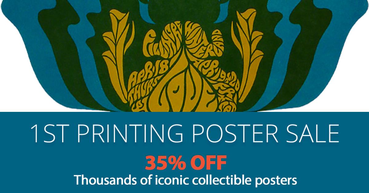 1st Printing Posters 35% Off. 1st printing posters $1800 or less 35% off.