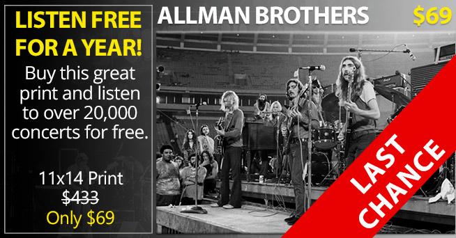 INCREDIBLE ALLMAN BROTHERS PRINT $69 + FREE STREAMING