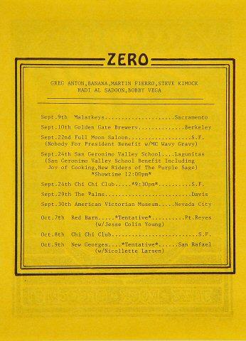 Zero Handbill reverse side