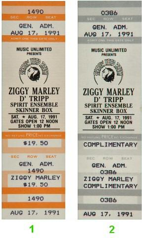 Ziggy Marley Vintage Ticket