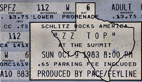 ZZ Top Vintage Ticket